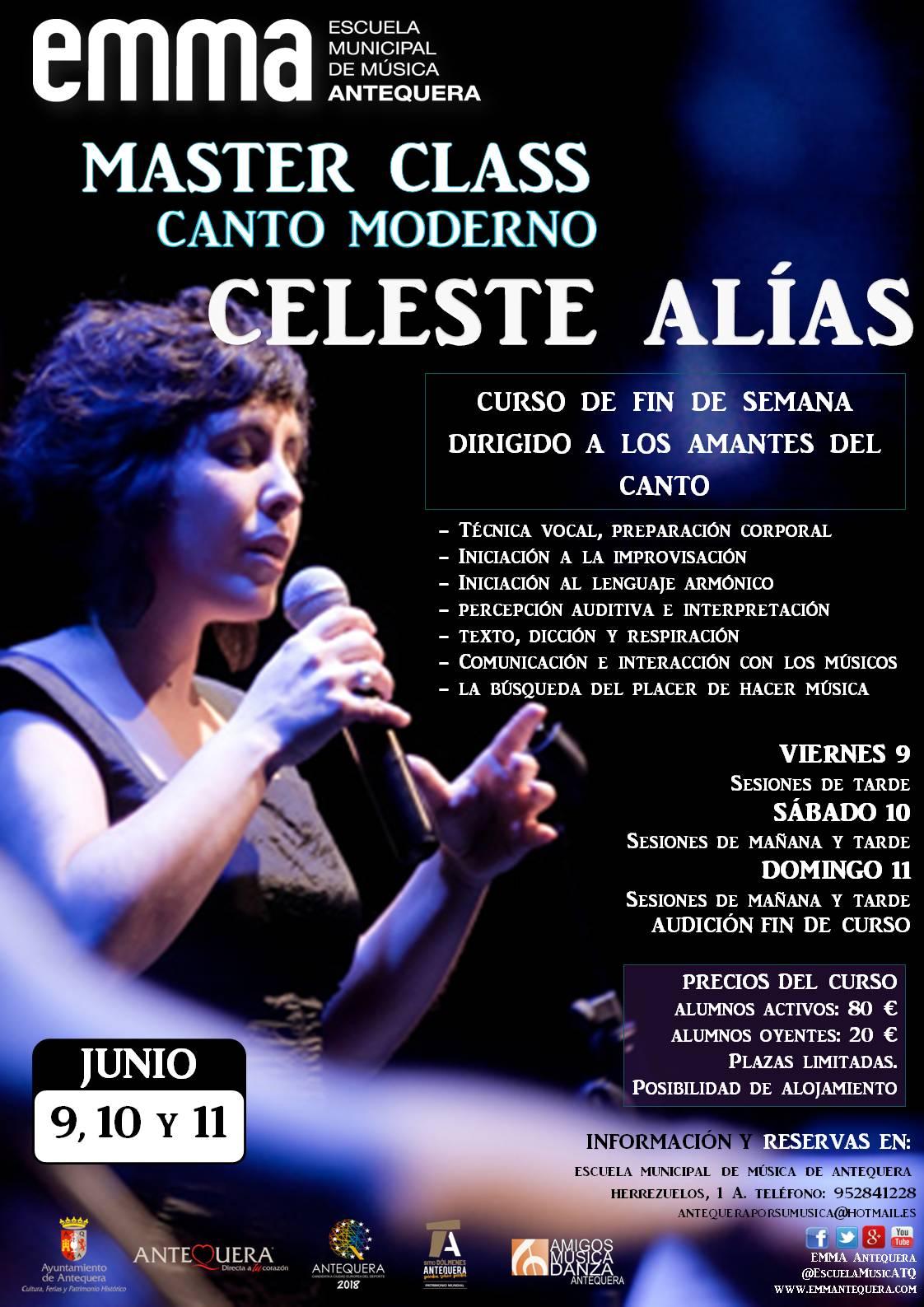 Master Class Canto Moderno con Celeste Alías @ Sala EMMA en Escuela Municipal de Música de Antequera